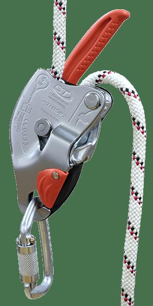 Спусковий пристрій для сходження з середини траси